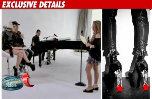 lady gaga,v magazine,cover,copertina,foto,fotografie,intervista,2011,maggio,tacchi,pene,forma,american idol