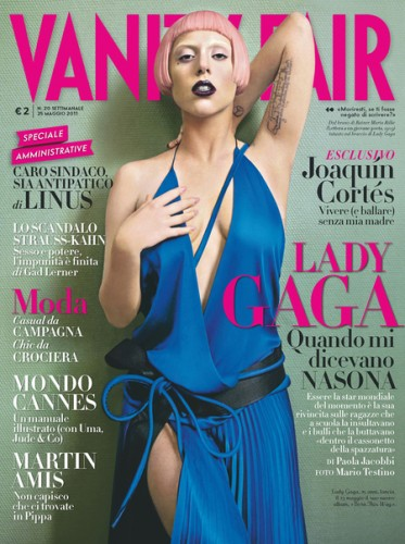 Lady Gaga, Vanity Fair, Italia, intervista, foto, copertina, fotografia, pettinatura, capelli, rosa, Born this way