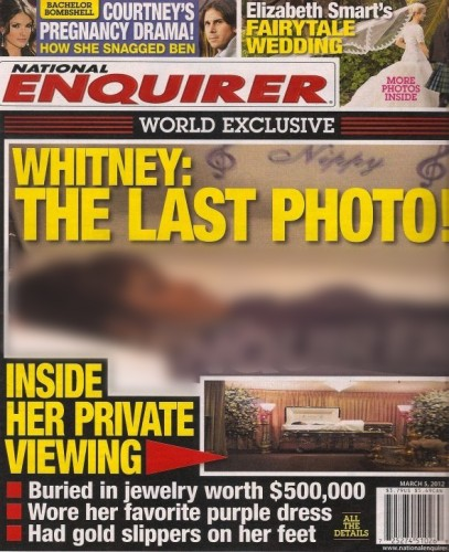 National Enquirer, Whitney Houston, foto, copertina, shock, bara, morta, funerali, funzione, 2012, New Jersey, streaming, tabloid, gossip